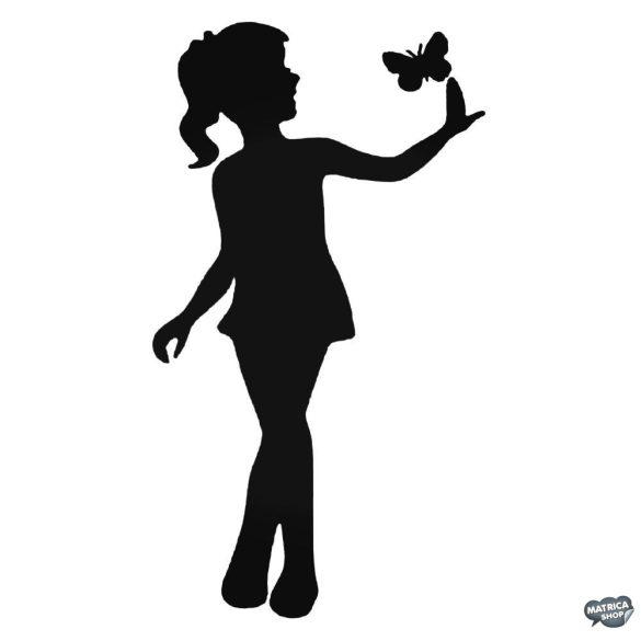 Kislány pillangóval matrica