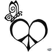 Pillangó Peace szív matrica