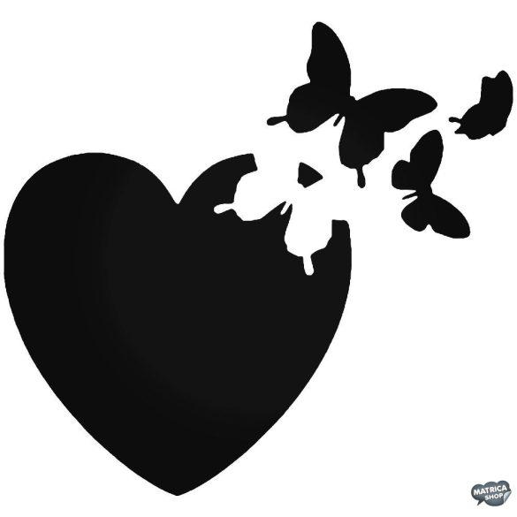 Szívből kitörő pillangók matrica
