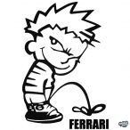 Calvin pisil Ferrari - Szélvédő matrica