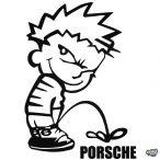 Calvin pisil Porsche - Szélvédő matrica