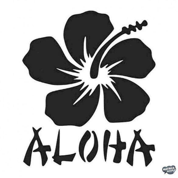 Hawaii Aloha felirat és virág - Autómatrica