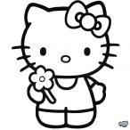 Hello Kitty matrica virággal