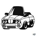 BMW matrica rajzfilmautó
