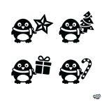 Karácsonyi pingvinek szett Matrica (30 cm)
