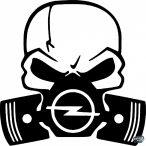 Opel gázmaszkos matrica